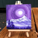 Mt. Hood in Purple Moonlight Original Mini Painting on Easel