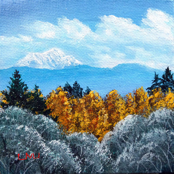 Autumn Landscape with Snowy Mountain Original Mini Painting on Easel