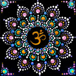 Om Dot Mandala Original Mini Painting on Easel