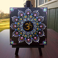 Om Dot Mandala Original Mini Painting on Easel SOLD