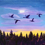 Geese Flying at Twilight Original Mini Painting on Easel