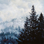 Misty Pine Trees Original Mini Painting on Easel - SOLD