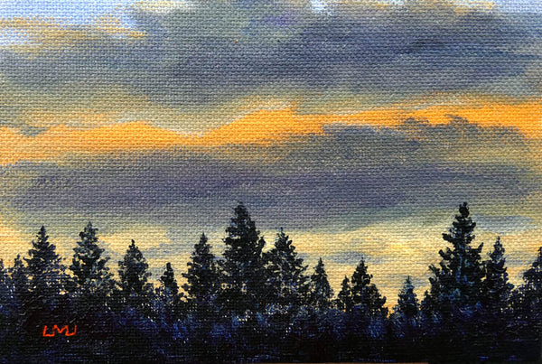 Pine Trees in Winter Light Original Mini Painting on Easel
