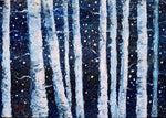Birch Trees in Winter Original Mini Painting on Easel
