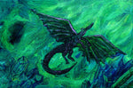 Green Dragon in Crystal Cave Original Mini Painting on Easel