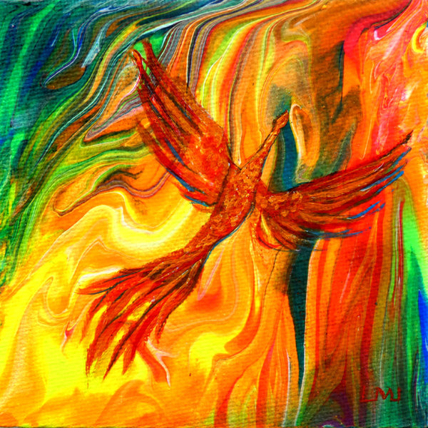 SOLD Firebird Rising from Neon Flames Original Mini Painting on Easel
