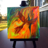 Firebird Rising from Neon Flames Original Mini Painting on Easel