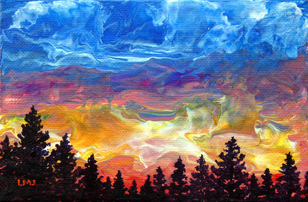 Pine Trees Sunset Original Mini Painting on Easel