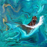 Seal in Emerald Waves Original Mini Painting on Easel