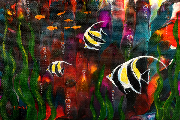 Tropical Fish Original Mini Painting on Easel