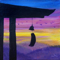 Temple Bell at Sunset Original Mini Painting on Easel