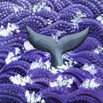Gray Whale Tail in Purple Waves Original Mini Painting on Easel