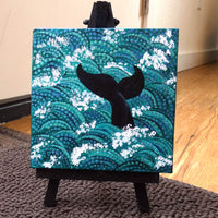 Whale Tail in Teal Waves Original Mini Painting on Easel Laura Milnor Iverson Official Site