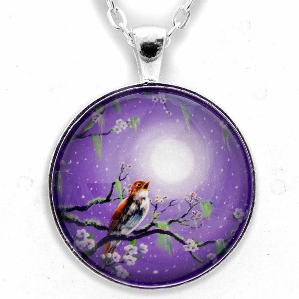 Singing Her Melody to the Night Handmade Pendant