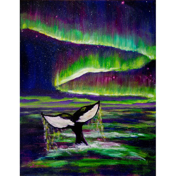 Killer Whale Tail in Aurora Borealis Original Painting - Laura Milnor Iverson Official Site