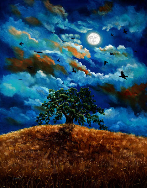 Ravens In A Moonlit Landscape Original Painting