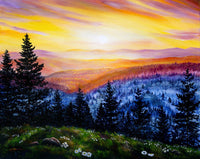 Sunset Over the Hills at Cape Perpetua Original Painting