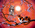 The Owl And The Pussycat In Peach Blossoms Original Painting