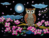 Owl in Dogwood Blossoms Original Painting - SOLD Prints Available
