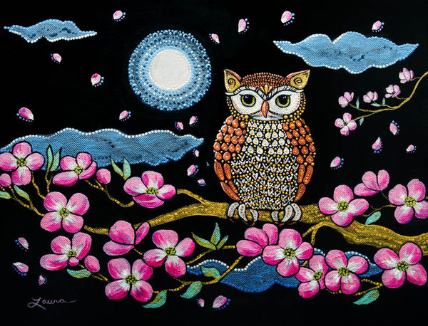 Owl in Dogwood Blossoms Original Painting