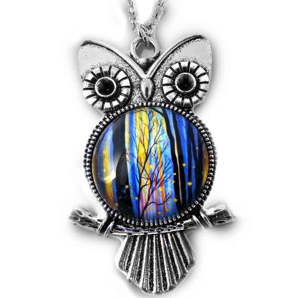 Owl - Winter Light and Fireflies Pendant Necklace - Laura Milnor Iverson Official Site