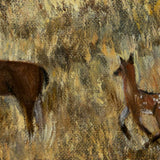 Doe and Fawn Under White Fluffy Clouds Original Painting