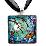 Monarch Butterflies in Teal Moonlight Handmade Square Pendant