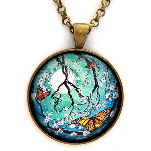 "Monarch Butterflies in Teal Moonlight Handmade Pendant on 24"" Necklace - Laura Milnor Iverson Official Site"