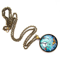 "Monarch Butterflies in Teal Moonlight Handmade Round Pendant on 24"" Chain Necklace"