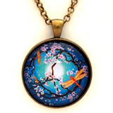Peace Tree with Orange Dragonflies Handmade Pendant