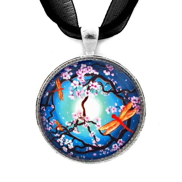 Peace Tree with Orange Dragonflies Handmade Pendant - Laura Milnor Iverson Official Site