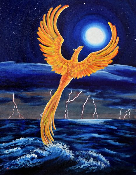 Phoenix Rising from the Ocean Original Painting - SOLD