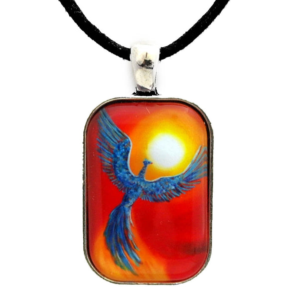 Phoenix Rising Handmade Rectangle Pendant
