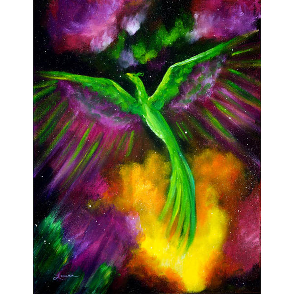 Green Phoenix in Bright Cosmos Original Painting