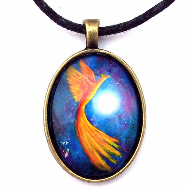 Cosmic Phoenix Rising Handmade Pendant - Laura Milnor Iverson Official Site