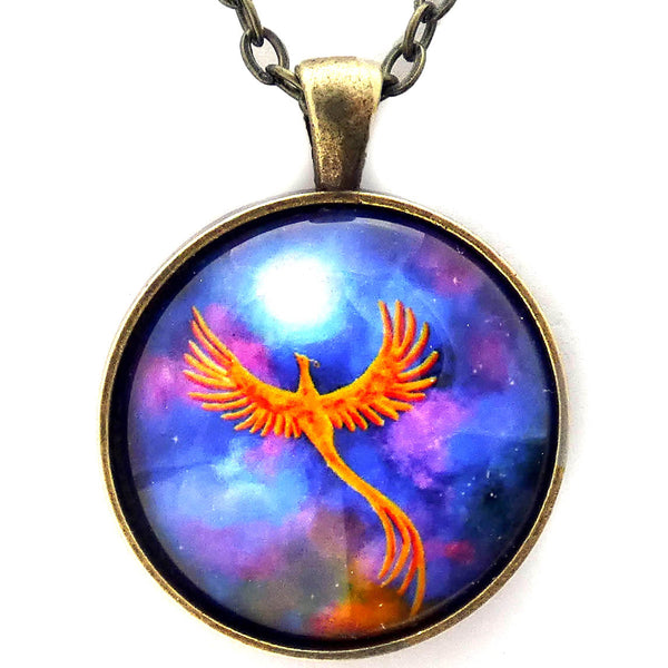 Soaring Firebird In A Cosmic Sky Round Handmade Pendant Laura Milnor Iverson Official Site