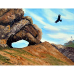 Crow Flying By Window Rock Original Painting - Laura Milnor Iverson Official Site