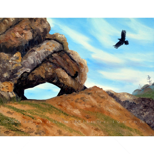 Crow Flying By Window Rock Original Painting