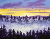Sunset and Fog Original Painting