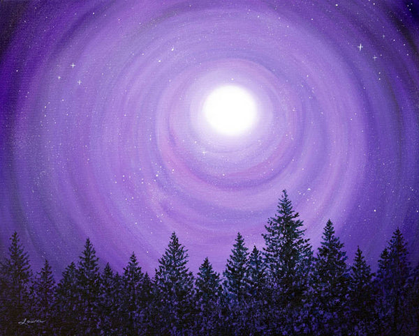 Pine Trees In Purple Moonlight Original Painting