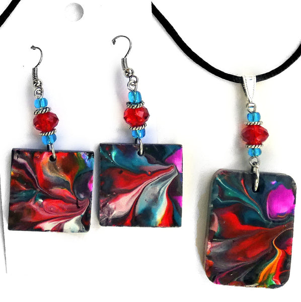 Teal and Red Original Abstract Painting on Wood Handmade Jewelry Set
