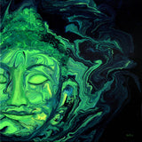 Green Heart Space Buddha Face Original Painting Laura Milnor Iverson Official Site