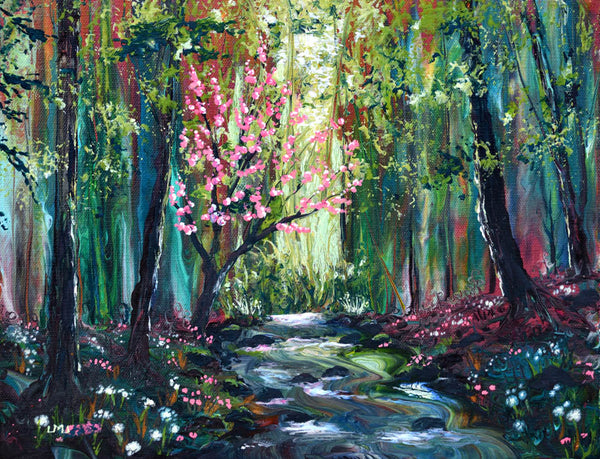 Blossoming Tree by a Brook Original Painting Laura Milnor Iverson Official Site