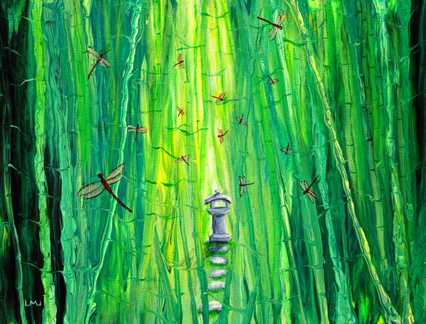 Dragonflies Around a Shinto Shrine Original Painting Laura Milnor Iverson Official Site