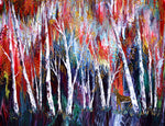 Autumn Birch Trees and Golden Deer Original Painting Laura Milnor Iverson Official Site