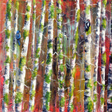 Backyard Birds in Birch Trees Original Painting - Laura Milnor Iverson Official Site