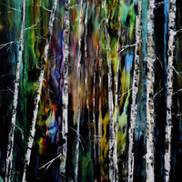 Birch Trees in a Mysterious Forest Original Painting - Laura Milnor Iverson Official Site
