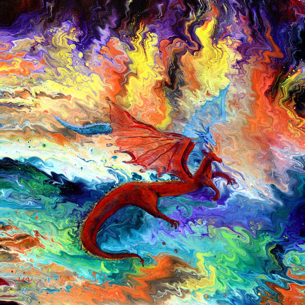 Fire and Ice Dragons Original Painting Laura Milnor Iverson Official Site