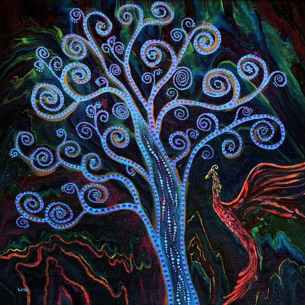 Phoenix and Tree of Life Original Painting Laura Milnor Iverson Official Site