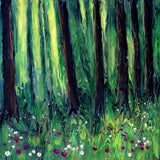 Forest Wildflower Meadow Original Painting by Laura Milnor Iverson
